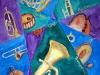 Ellen Baader, Aquarell, 2006, Mit Pauken und Trompeten